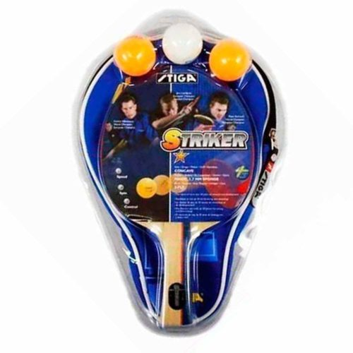 Stiga Striker 1 Player Racket with case and 3 balls Table Tennis Set