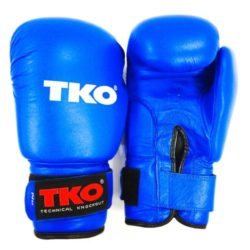 TKO Boxing Gloves Leather Pro Training Kick Sparring Punching Glove Blue
