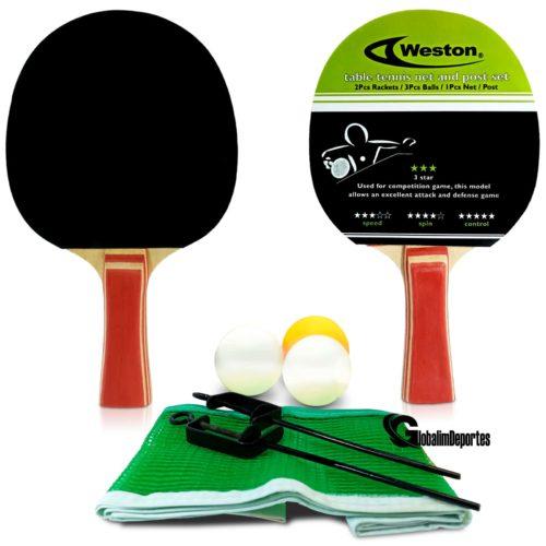 Weston Table Tennis net and post Set - 2 Rackets 3 balls