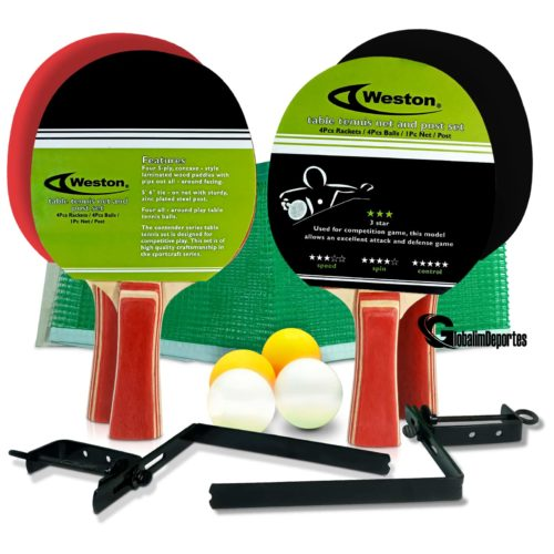 Weston Table Tennis net and post Set - 4 Rackets 4 balls