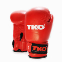 TKO Boxing Gloves Leather Pro Training Kick Sparring Punching Glove Red