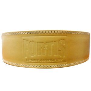 Fortis leather weight lifting belt 4 inch size XL natural