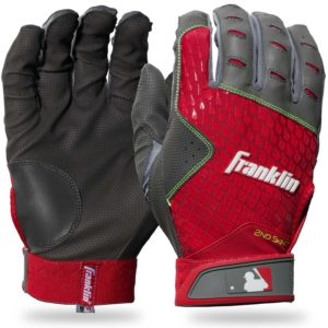 Franklin Sports 2nd-Skinz Batting Gloves Gray Red Youth