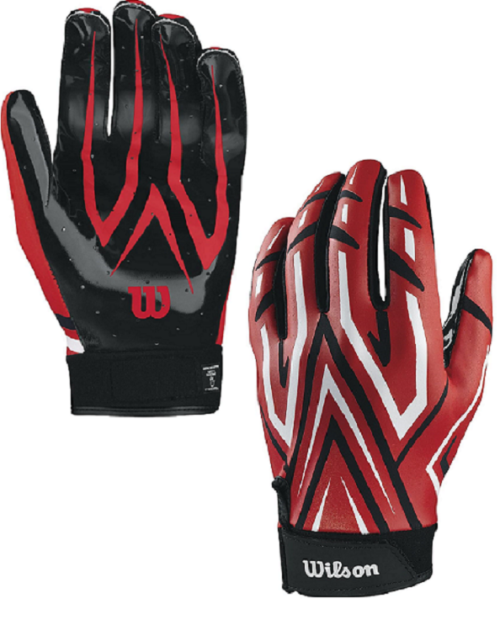 Wilson The Clutch Skill Football Receiver Glove Youth Red Pair