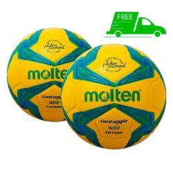 Molten F9V1500 Vantaggio FUTSAL soccer ball Yellow 2 Pack