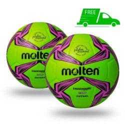 Molten F9V1500 Vantaggio FUTSAL Soccer Ball Light-Green 2 Pack