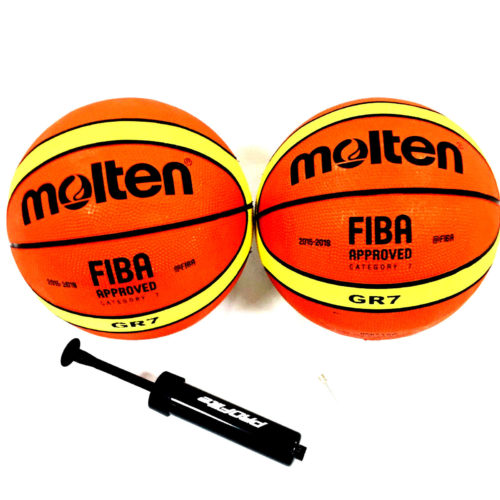 Molten GR7 Basketball FIBA Approved Size 7 With Manual Pump 2 Pack