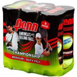 Penn Championship Regular Duty Felt Tennis Balls 6 Cans (18 Balls)
