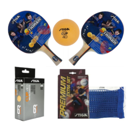 Stiga 2 Striker Rackets 1 Premium Net and 6 Stiga Cup Balls Kit