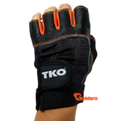 TKO Workout Gloves Gym Fitness Weightlifting Gloves BLK-ORG Pair