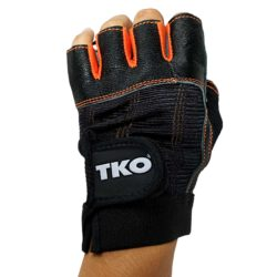 TKO Workout Gloves Gym Fitness Weightlifting Gloves BLK-ORG Size M Pair