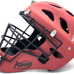 Adams High Performance Matte Baseball Catcher's Helmet Adjustable One Size Fits Most (Red)